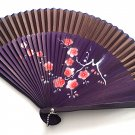 Plum Flower Design Bamboo Folding Fan Handfan 201030 Spray Painted  with Brown Fabric Color