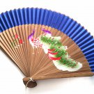 Hand Painted Peacock Design Bamboo Folding Fan Handfan 201031 with Dark Blue Fabric Color