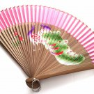 Hand Painted Peacock Design Bamboo Folding Fan Handfan 201032 with Pink Fabric Color