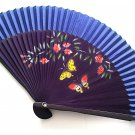 Hand Spray Painted Bamboo and Folding Fan 201036 Dark Blue with Butterfly and Flowers Design