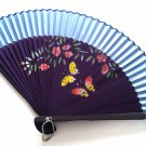 Hand Spray Painted Bamboo and Folding Fan 201035 Light Blue with Butterfly and Flowers Design