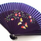 Hand Spray Painted Bamboo and Folding Fan 201037 Dark Purple with Butterfly and Flowers Design