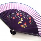 Lavendar Purple Bamboo Fan Folding Handfan 201038  with Butterfly and Flowers Design