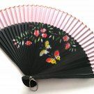 Butterfly Theme Bamboo Fan Folding Handfan 201039 Light Pink with Butterfly and Flowers Design