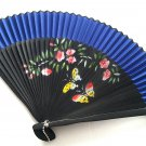 Decorative Bamboo Fan Folding Handfan 201040 Navy Blue with Butterfly and Flowers Design
