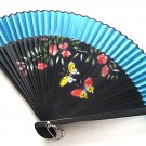 Beautiful Bamboo Fan Folding Handfan 201041  Light Blue with Butterfly and Flowers Design