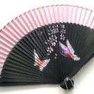Chinese Bamboo Fan Folding Handfan 201042  Light Pink with Butterfly and Flowers Design