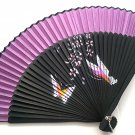 Wedding Favors Bamboo Fan Folding Handfan 201043  Purple with Butterfly and Flowers Design