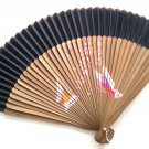 Natural Bamboo Wood Folding Handfan 201046  Black with Butterfly and Flowers Design