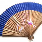 Natural Bamboo Wood Folding Handfan 201045  Dark Blue with Butterfly and Flowers Design