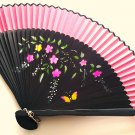 Bamboo Folding Handfan 201048 Bright Pink Color with Butterfly and Flowers Design