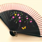 Bamboo Folding Handfan 201049 Light Pink Color with Butterfly and Flowers Design