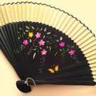 Bamboo Folding Handfan 201050 Light Yellow Color with Butterfly and Flowers Design
