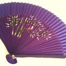 Wedding Spray Painted Bamboo and Silk Hand-fan 201051 Navy Blue with Bamboo and Bird design