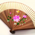Bamboo and Silk Hand-fan 201052 Yellow with  Peony Flowers Butterfly and Flower Design