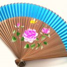 Bamboo and Silk Hand-fan 201054 Light Blue with  Peony Flowers Butterfly and Flower Design