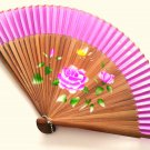 Bamboo and Silk Hand-fan 201055 Purple with  Peony Flowers Butterfly and Flower Design