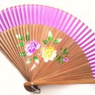 Bamboo and Silk Hand-fan 201056 Purple with  Peony Flowers Design