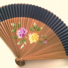 Bamboo and Silk Hand-fan 201057 Black with  Peony Flowers Design