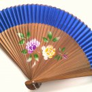 Bamboo and Silk Hand-fan 201058 Royal Blue with  Peony Flowers Design