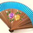 Bamboo and Silk Hand-fan 201059 Bright Blue with  Peony Flowers Design