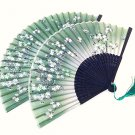 Set of 2 pc Cherry Blossom Bamboo Japanese Silk Folding Fan Handfan in Green Color