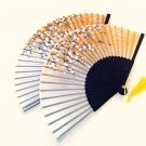 Set of 2 pc Cherry Blossom Bamboo Japanese Silk Folding Fan Handfan in Orange Color