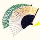 Set of 2 pc Cherry Blossom Bamboo Japanese Silk Folding Fan Handfans