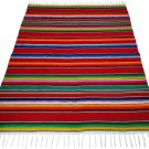Artisan Woven Sarape Red Tones Mexico Blanket Yoga Mat Fine Traditional El Paso