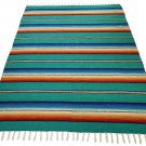 Teal Serape Falsa Blanket Classic Mexican Yoga Mat Pattern Vivid Colors Beach Picnic Throw