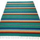 Teal Serape Falsa Blanket Classic Mexican Yoga Mat Pattern Vivid Colors Beach Picnic Throw