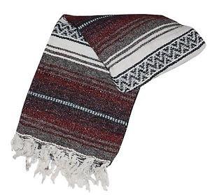 Genuine Classic Mexican Falsa Blanket Yoga Woven Serape Mexico Maroon Burgundy