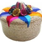 Classic Tortilla Basket Warmer Palm Colorful Embroidery Artisan Mexico Assorted