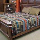Reversible Fine Navajo Design Southwest Bedspread QUEEN Throw Sarape Blanket Bed