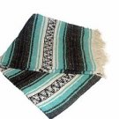 Mint / Teal / Grey Mexican Falsa Blanket Great Beach Picnic Yoga Open Road Throw