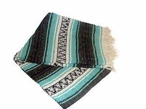Mint / Teal / Grey Mexican Falsa Blanket Great Beach Picnic Yoga Open Road Throw