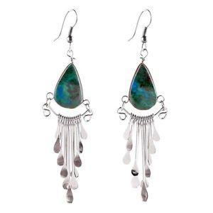 "Genuine Turquoise Peruvian Earrings Stone Drop Artisan Made Alpaca Silver 2"" HOT"