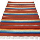 Sarape Mexican Serape Saltillo Falsa Blanket Heavy Authentic Original Rust Earth