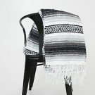 Black / Gray  Mexican Falsa Blanket Great Beach Picnic Yoga Open Road Bed Throw