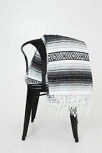 Black / Gray  Mexican Falsa Blanket Great Beach Picnic Yoga Open Road Bed Throw