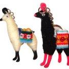 """2 Alpaca Llama Key Ring 3"""" Artisan Peru Made Yarn Traditional Andes Gift Set New"""