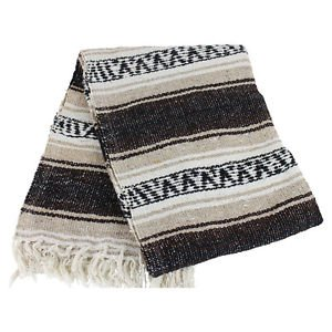 Genuine Classic Mexican Falsa Blanket Yoga Colorful Woven Serape Mexico Brown