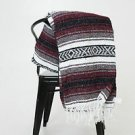 Yoga Maroon Traditional Mexican Blanket Striped Premium Mexico Navajo Serape 3LB