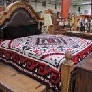 Reversible Fine Navajo Design Southwest Bedspread King Throw Sarape Blanket Red