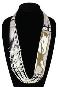 Charming Glitzy Horse Necklace Beaded Crystal Glass Beads Chic Western NE700-206