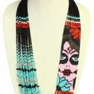 Dramatic Hand Beaded Dia de los Muertos Day of Dead Necklace Crystals Ne605