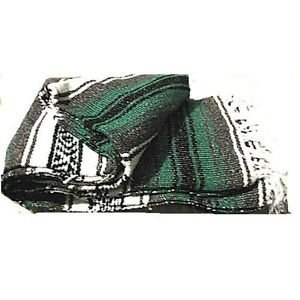 Green / Gray  Mexican Falsa Blanket Great Beach Picnic Yoga Open Road Bed Throw