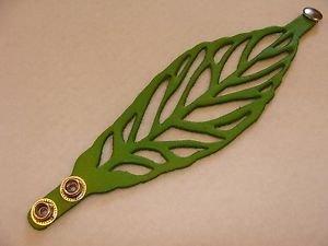 Leather Adjustable One Size Adult Bracelet Pair 2 Pack Artisan Made Leaf Pattern