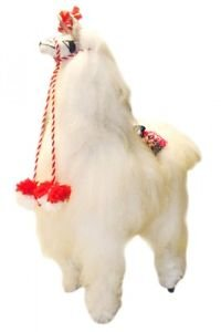 "Alpaca Standing Plush Doll White Fur 9"" Tall Natural Artisan Peru Llama Natural"