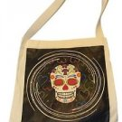 "Canvas Silk Screened Sugar Skulls Tote 14"" x 16"" Day of Dead Bag Original 188"